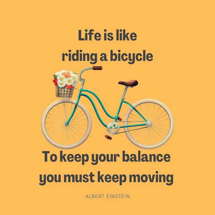 fiets fietsen quote leven is als een fiets einstein