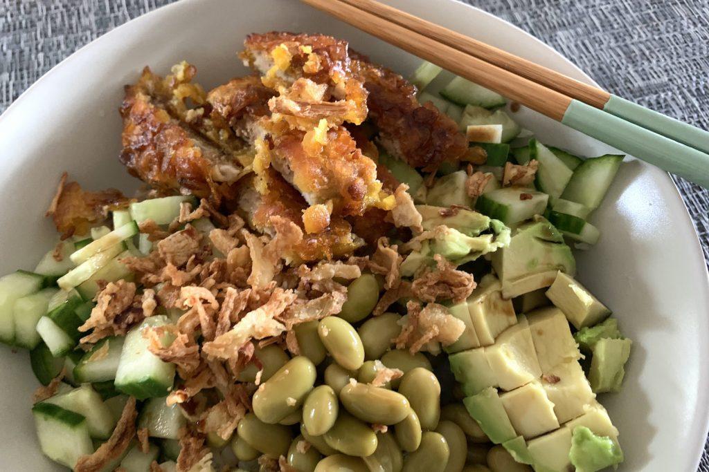 sushi bowl, maaltijd, stokjes